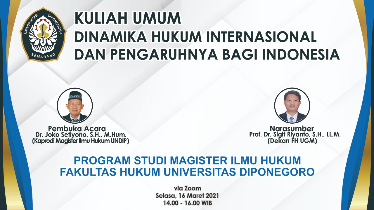 Public Lecture: Dynamics of International Law and Its Impact on Indonesia